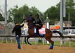 LOUISVILLE, KY - MAY 04:  Cathryn Sophia (Street Boss x Sheave, by Mineshaft) is feisty leaving the track at Churchill Downs with exercise rider Jerry Ortega and led by Tyler Servis, assistant trainer. Owner Cash Is King LLC, trainer John C. Servis. (Photo by Mary M. Meek/Eclipse Sportswire/Getty Images)
