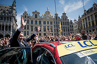 """the 'chosen King of the Belgians' Eddy Merckx greeting the crowd (chanting """"Eddy! Eddy """") at the race start in Brussels<br /> <br /> Stage 1: Brussels to Brussels(BEL/192km) 106th Tour de France 2019 (2.UWT)<br /> <br /> ©kramon"""