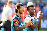 KANSAS CITY, KS - JULY 18: Gianluca Busio #6 ,George Bello #21 of the United States during a game between Canada and USMNT at Children's Mercy Park on July 18, 2021 in Kansas City, Kansas.
