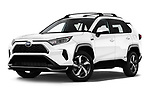 Stock pictures of low aggressive front three quarter view of 2021 Toyota RAV4-Prime SE 5 Door SUV Low Aggressive