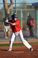 Dalton Taylor (54), from Kennewick, Washington, while playing for the Red Sox during the Under Armour Baseball Factory Recruiting Classic at Red Mountain Baseball Complex on December 29, 2017 in Mesa, Arizona. (Zachary Lucy/Four Seam Images)