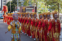 Chinese Girls Drill Team, Chinatown Seafair Parade 2015, Seattle, Washington State, WA, America, USA.