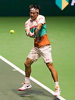 Rotterdam, The Netherlands, 12 Februari 2019, ABNAMRO World Tennis Tournament, Ahoy, first round singles: Kei Nishikori (JPN),<br /> Photo: www.tennisimages.com/Henk Koster
