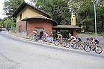 The lead group tackles the final climb of Superga near the finish of the 2015 96th Milan-Turin 186km race starting at San Giuliano Milanese, Italy. 1st October 2015.<br /> Picture: Eoin Clarke | Newsfile