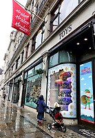 Hamleys in London's Regent Street is proud to be the Largest Toy Shop in the World. But with London, just the the rest of England, currently in a Covid-19 Lockdown, it is closed. But it hasn't prevented it coming up with colourful christmas window displays which attract thousands of visitors thoughout the festive period. London  November 20th 2020<br /> <br /> Photo by Keith Mayhew