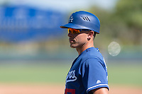 Los Angeles Dodgers manager Jeremy Rodriguez (17) during an Instructional League game against the Oakland Athletics at Camelback Ranch on September 27, 2018 in Glendale, Arizona. (Zachary Lucy/Four Seam Images)