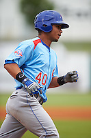 Tennessee Smokies designated hitter Willson Contreras (40) runs the bases after hitting a home run during a game against the Montgomery Biscuits on May 25, 2015 at Riverwalk Stadium in Montgomery, Alabama.  Tennessee defeated Montgomery 6-3 as the game was called after eight innings due to rain.  (Mike Janes/Four Seam Images)