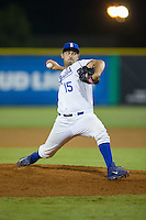 Burlington Royals relief pitcher Michael Silva (15) in action against the Bluefield Blue Jays at Burlington Athletic Stadium on June 28, 2016 in Burlington, North Carolina.  The Royals defeated the Blue Jays 4-0.  (Brian Westerholt/Four Seam Images)