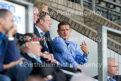 St Johnstone v Bristol City....28.07.12  Pre-Season Friendly.Saints Chairman Steve Brown talks with Roddy Grant.Picture by Graeme Hart..Copyright Perthshire Picture Agency.Tel: 01738 623350  Mobile: 07990 594431