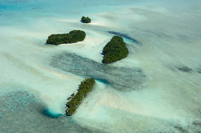 AERIAL PALAU NEAR THE 70 ISLANDS, MICRONESIA, EXPOSED REEF
