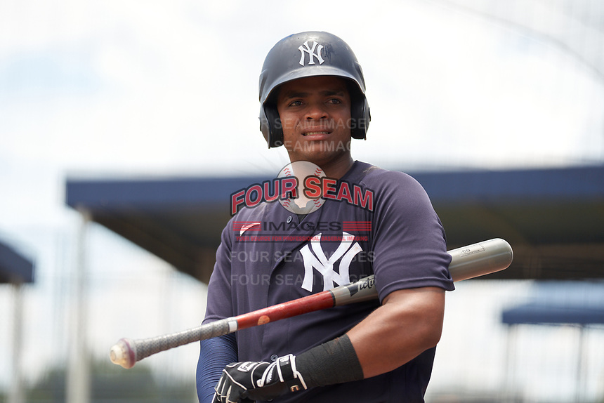 FCL Yankees Jose Martinez (36) on deck during a game against the FCL Tigers East on July 27, 2021 at the Yankees Minor League Complex in Tampa, Florida. (Mike Janes/Four Seam Images)