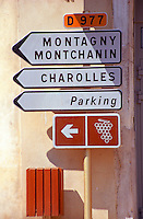 Road signs indicating the wine route (route de vin) and Montagny and Charolles in Bourgogne