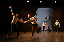 "London, UK. 09.10.19. Deaf Men Dancing present ""Time"", a triple bill of work, comprising ""Hear! Hear!"", ""TEN"" and ""The Progress Score"", as part of Greenwich Performs, at Laban Theatre, Greenwich, on the 9th and 10th October. The piece shown is: ""Hear! Hear"", based on the original choreography by Mark Smith, new version re-created & re-imagined by Joseph Fletcher. Lighting design is by Jonathan Samuels, with costume and projection design by Ryan Dawson Laight. <br /> The dancers are: Aaron Rahn, Joe Porton, Joshua Kyle-Cantrill & Joseph Fletcher."