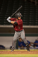 AZL Diamondbacks catcher Luvin Valbuena (2) at bat during an Arizona League game against the AZL Cubs 1 at Sloan Park on June 18, 2018 in Mesa, Arizona. AZL Diamondbacks defeated AZL Cubs 1 7-0. (Zachary Lucy/Four Seam Images)