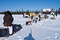Sonny Lindner arrives at the Cripple checkpoint 1/2 way into the race during the 2010 Iditarod