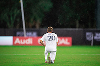 LAKE BUENA VISTA, FL - JULY 23: Nick Depuy #20 of the LA Galaxy before the game during a game between Los Angeles Galaxy and Houston Dynamo at ESPN Wide World of Sports on July 23, 2020 in Lake Buena Vista, Florida.