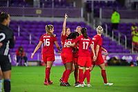 ORLANDO, FL - FEBRUARY 21: CANWNT celebrates a goal during a game between Argentina and Canada at Exploria Stadium on February 21, 2021 in Orlando, Florida.