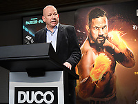6th October 2020, Auckland, New Zealand;  NZME's Shayne Currie during a boxing press conference confirming the heavyweight boxing match between Joseph Parker and Junior Fa. Spark City, Auckland