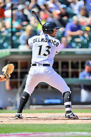Charlotte Knights third baseman Nicky Delmonico (13) awaits the pitch during a game against the  Gwinnett Braves at BB&T Ballpark on May 7, 2017 in Charlotte, North Carolina. The Knights defeated the Braves 7-1. (Tony Farlow/Four Seam Images)