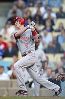 Cincinnati Reds outfielder Drew Stubbs #6 bats against the Los Angeles Dodgers at Dodger Stadium on June 14, 2011 in Los Angeles,California. (Larry Goren/Four Seam Images)