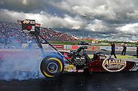 May 20, 2011; Topeka, KS, USA: NHRA top fuel dragster driver Del Worsham  during qualifying for the Summer Nationals at Heartland Park Topeka. Mandatory Credit: Mark J. Rebilas-