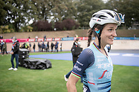 race winner Lizzie Deignan (GBR/Trek-Segafredo) escorted to the podium<br /> <br /> Inaugural Paris-Roubaix Femmes 2021 (1.WWT)<br /> One day race from Denain to Roubaix (FRA)(116.4km)<br /> <br /> ©kramon