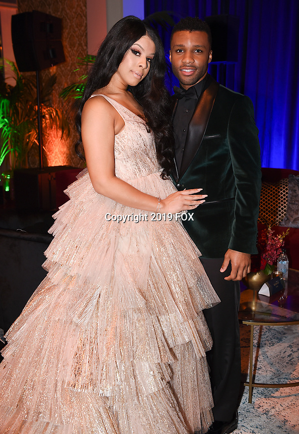 BEVERLY HILLS - JANUARY 6: Hailie Sahar and Dyllon Burnside attend the 2019 Fox Nominee Party for the 76th Annual Golden Globe Awards at the Fox Terrace on the Roof Deck of the Beverly Hilton on January 6, 2019, in Beverly Hills, California. (Photo by Frank Micelotta/Fox/PictureGroup)