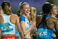 2nd May 2021; Silesian Stadium, Chorzow, Poland; World Athletics Relays 2021. Day 2; Jessie Knight of Great Britain shares a pre race joke with competitors