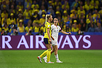 LE HAVRE, FRANCE - JUNE 20: Sofia Jakobsson #10, Kelley O'Hara #5 during a 2019 FIFA Women's World Cup France group F match between the United States and Sweden at Stade Océane on June 20, 2019 in Le Havre, France.