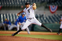 Florida Fire Frogs relief pitcher Carlos Salazar delivers a pitch during a game against the Dunedin Blue Jays on April 10, 2017 at Osceola County Stadium in Kissimmee, Florida.  Florida defeated Dunedin 4-0.  (Mike Janes/Four Seam Images)