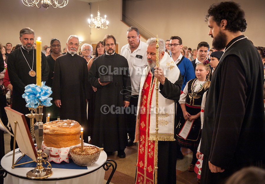 Blessing of the Kolach (bread) by three bishops after liturgy at Blessed Virgin Mary of the Assumption Serbian Orthodox Church in Fair Oaks, Calif...His Grace Bishop Ignatije Midic, of  of Branicevo, Serbia, His Grace, Bishop Maxum of Western America and His Grace Bishop Grigorije (Duric) of Zahumlje, Herzegovina.