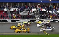 Ron Fellows brings the winning Corvette (#2) across the finish line.. 39th Rolex 24 at Daytona, 3/4 February,2001 Daytona International Speedway  Daytona Beach,Florida,USA.©F.Peirce Williams 2001 ..