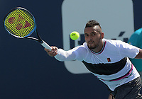 MIAMI GARDENS, FLORIDA - MARCH 26: Borna Coric of Croatia defeats Nick Kyrgios of Australia during day 9 of the Miami Open presented by Itau at Hard Rock Stadium on March 26, 2019 in Miami Gardens, Florida<br /> <br /> <br /> People: Nick Kyrgios