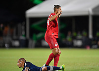 LAKE BUENA VISTA, FL - JULY 26: Omar González of Toronto FC pleads innocence after a collision during a game between New York City FC and Toronto FC at ESPN Wide World of Sports on July 26, 2020 in Lake Buena Vista, Florida.