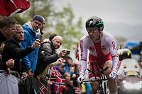 Maciej Bodnar (POL/BORA-hansgrohe) up Mount Fløyen<br /> <br /> Men Elite Individual Time Trial<br /> <br /> UCI 2017 Road World Championships - Bergen/Norway