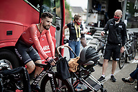 Nacer Bouhanni (FRA/Arkéa-Samsic) warming up & babysitting his daughter pre-stage<br /> <br /> Stage 5 (ITT): Time Trial from Changé to Laval Espace Mayenne (27.2km)<br /> 108th Tour de France 2021 (2.UWT)<br /> <br /> ©kramon
