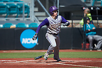Daniel Walsh (19) of the Western Carolina Catamounts starts down the first base line against the Kennesaw State Owls at Springs Brooks Stadium on February 22, 2020 in Conway, South Carolina. The Owls defeated the Catamounts 12-0.  (Brian Westerholt/Four Seam Images)