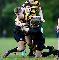 Saturday 18th February 2017 | CCB vs RBAI<br /> <br /> Rhys O'Donnell is tackled by Rory Cahoon during the Ulster Schools' Cup Quarter Final clash between Campbell College Belfast and RBAI at Foxes Field, Campbell College, Belmont, Belfast, Northern Ireland.<br /> <br /> Photograph by John Dickson | www.dicksondigital.com