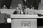 Rodney Bickerstaffe, General Secretary of the National Union of Public Employees (NUPE), speaks for a National Minimum Wage at the TUC Congress, Brighton, 1986.