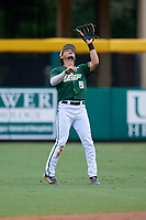 USF Bulls second baseman Jordan Santos (5) settles under a pop up during a game against the Dartmouth Big Green on March 17, 2019 at USF Baseball Stadium in Tampa, Florida.  USF defeated Dartmouth 4-1.  (Mike Janes/Four Seam Images)