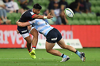 19th March 2021; Melbourne Rectangular Stadium, Melbourne, Victoria, Australia; Australian Super Rugby, Melbourne Rebels versus New South Wales Waratahs; Stacey Ili of the Rebels passes the ball whilst being tackled by Carlo Tizzano of the Waratahs