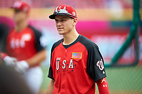 Team USA Trea Turner (8) during practice before the MLB All-Star Futures Game on July 12, 2015 at Great American Ball Park in Cincinnati, Ohio.  (Mike Janes/Four Seam Images)