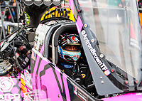 Oct 3, 2020; Madison, Illinois, USA; NHRA top fuel driver Antron Brown during qualifying for the Midwest Nationals at World Wide Technology Raceway. Mandatory Credit: Mark J. Rebilas-USA TODAY Sports