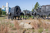 Oklahoma City, Oklahoma, USA.  Memorial to the Land Run of 1889.  Sculptures by Paul Moore.