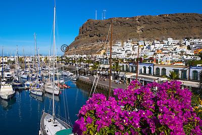 Spain, Gran Canaria, Puerto de Mogan: View over Bougainvillea and marina | Spanien, Gran Canaria, Puerto de Mogan: Yachthafen