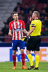 Saul Niguez Esclapez of Atletico de Madrid speaks to the referee Jakob Kehlet during the UEFA Europa League 2017-18 Round of 16 (1st leg) match between Atletico de Madrid and FC Lokomotiv Moscow at Wanda Metropolitano  on March 08 2018 in Madrid, Spain. Photo by Diego Souto / Power Sport Images