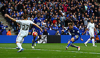 Marc Albrighton of Leicester City scores a goal to make the score 4-0 during the Barclays Premier League match between Leicester City and Swansea City played at The King Power Stadium, Leicester on 24th April 2016