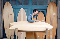 BNPS.co.uk (01202 558833)<br /> Pic: ZacharyCulpin/BNPS<br /> <br /> Pictured: James shaping the boards in his workshop. <br /> <br /> Surf's up...<br /> <br /> The demand for sustainable wooden surfboards is on the rise - great news for carpenter James Otter who spends up to 80 hours on one of his beautiful handcrafted boards.<br /> <br /> James' company Otter Surfboards is the leading maker of wooden surfboards in the UK, if not Europe.<br /> <br /> He sources all his wood directly from woodlands in the south west and customers can even spend five days in his Cornish workshop learning how to make their own board.