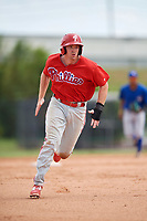 Philadelphia Phillies Zach Green (25) running the bases during an Instructional League game against the Toronto Blue Jays on September 30, 2017 at the Carpenter Complex in Clearwater, Florida.  (Mike Janes/Four Seam Images)
