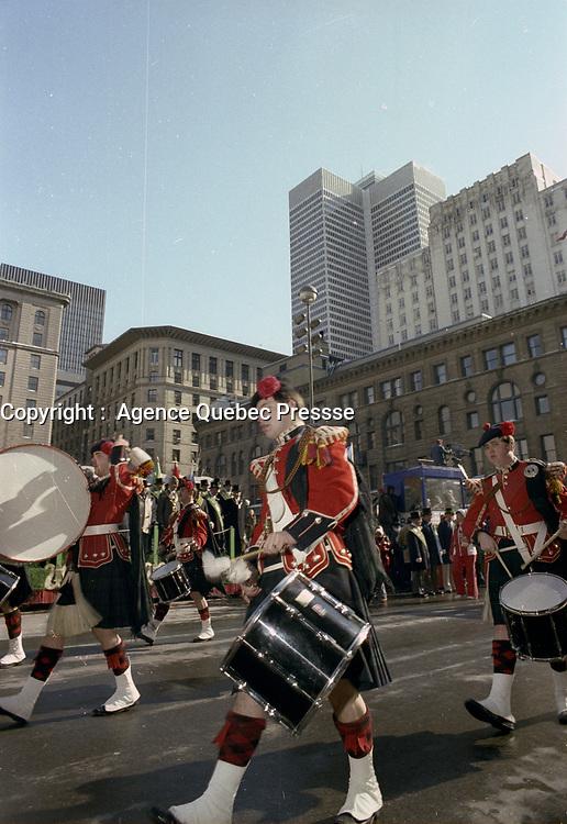 Defile de la St-Patrick , le 16 Mars 1980<br /> <br /> PHOTO : Agence Quebec Presse